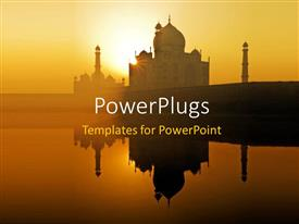 PowerPoint template displaying dawn at the Taj Mahal in Agra Northwest India
