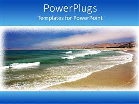 PowerPlugs: PowerPoint template with day light view of a beach with sea waves on its shore