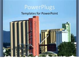 PowerPlugs: PowerPoint template with day light view of a big industrial plant building