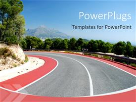 PowerPlugs: PowerPoint template with day light view of a high way with trees around