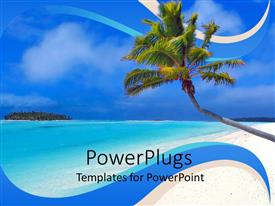 PowerPlugs: PowerPoint template with day light view of a leaning coconut tree on a beach