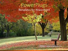PowerPlugs: PowerPoint template with day light view of a park with autumn trees
