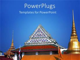 PowerPlugs: PowerPoint template with day light view of a shaolin temple with blue skies