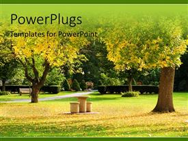 PowerPoint template displaying a day time view of an autumn season on a park