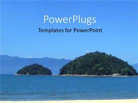 PowerPoint template displaying day time view of a beautiful small island in the middle of a sea