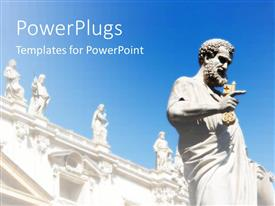 PowerPlugs: PowerPoint template with day time view of a big statue of a saint