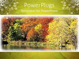 PowerPoint template displaying a day time view of the effect of autumn season on trees