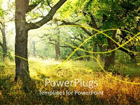 PowerPlugs: PowerPoint template with day time view of tall trees in the woods