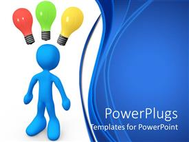 PowerPoint template displaying decision making metaphor with blue man with light bulbs over head