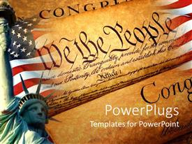 PowerPoint template displaying declaration of independence american flag statue of liberty patriotism