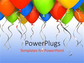 PowerPlugs: PowerPoint template with decoration of colorful 3D balloons with blue color