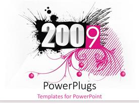 PowerPoint template displaying decorative black, white, and pink 2009