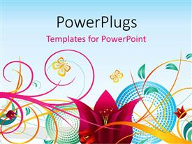 PowerPlugs: PowerPoint template with decorative design of colorful flowers on a white background