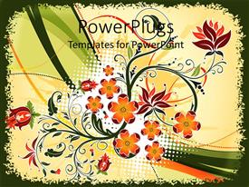 PowerPlugs: PowerPoint template with decorative orange and red flowers on abstract wave background
