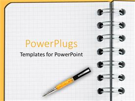 PowerPlugs: PowerPoint template with decorative pen laying on blank sheet of notebook paper