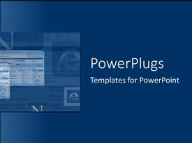 PowerPoint template displaying a deep blue background and a design at the side