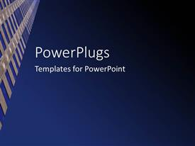 PowerPoint template displaying deep blue colored sky with sky scraper