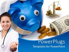 PowerPoint template displaying deep blue piggy bank with rolled up dollar bills and a female doctor