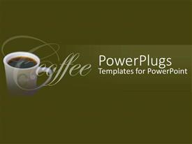 PowerPoint template displaying a deep green background and white coffee mug at the side
