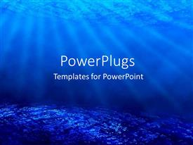 PowerPoint template displaying deep sea diving with blue coral ocean and sun rays as a metaphor