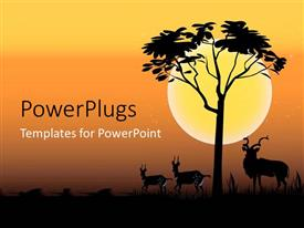 PowerPlugs: PowerPoint template with deer with horns with tree over sunset on orange background