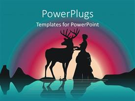 PowerPoint template displaying a deer with a warrior and rainbow in the background