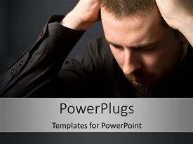 PowerPlugs: PowerPoint template with dejected man has head in hands over black background