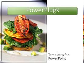 PowerPlugs: PowerPoint template with delicious arranged vegetable stacked meal on a white background