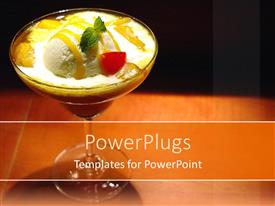 PowerPlugs: PowerPoint template with delicious glass cup of cold vanilla desert ice cream