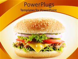 PowerPoint template displaying a delicious looking burger with a lot of vegetables and meet