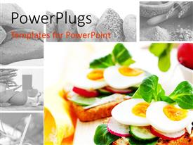 PowerPlugs: PowerPoint template with delicious open sandwiches with fresh fruits in a white bowl