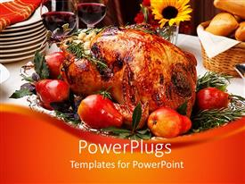 PowerPlugs: PowerPoint template with delicious roasted turkey with savory vegetable side dishes in a fall theme