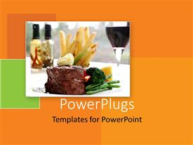 PowerPlugs: PowerPoint template with a delicious served meal of steak, chips and vegetables