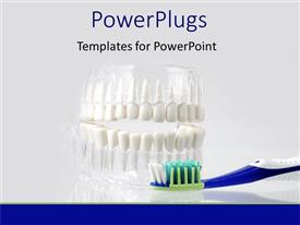 PowerPlugs: PowerPoint template with dental care equipment displayed on white background