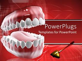 PowerPlugs: PowerPoint template with dental care theme with mouth and teeth and tongue with dental tool on red background