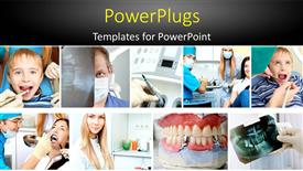 PowerPoint template displaying a number of dentists taking care of the patients