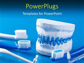 PowerPlugs: PowerPoint template with dental molds and toothbrushes with blue color