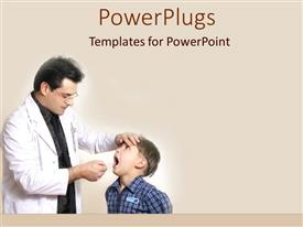 PowerPlugs: PowerPoint template with dentist examining child's teeth, oral health, dentistry, checkup