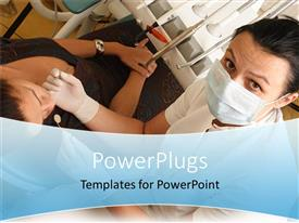 PowerPlugs: PowerPoint template with a dentist working with the patient