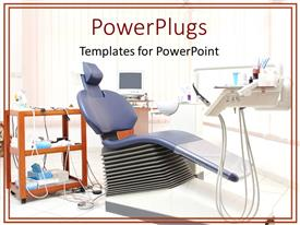 PowerPlugs: PowerPoint template with dentist's office with blue dental chair and dental equipment