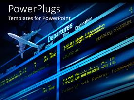 PowerPoint template displaying the departure of an airplane with information board in the background
