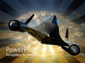 PowerPlugs: PowerPoint template with a depiction of a-12 trainer with clouds in the background