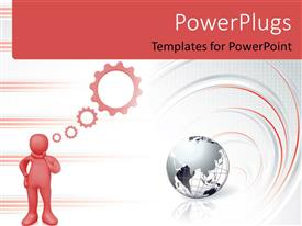 PowerPlugs: PowerPoint template with depiction of 3D man thinking with earth globe on white surface
