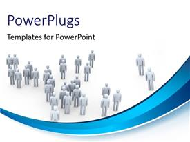 PowerPlugs: PowerPoint template with depiction of 3D men walking in different directions on white background