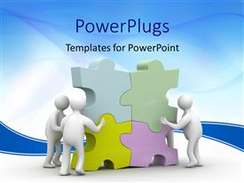PowerPoint template displaying depiction of a 3D People collect puzzle with blue curves