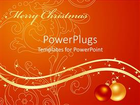 PowerPlugs: PowerPoint template with depiction of an abstract flowery design on an orange background