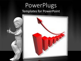 PowerPlugs: PowerPoint template with depiction of an adult male standing beside a red bar chart