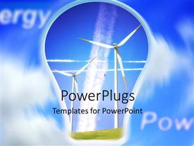 PowerPlugs: PowerPoint template with the depiction of alternative forms of energy and clouds in the background
