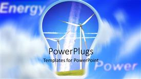 PowerPoint template displaying the depiction of alternative forms of energy and clouds in the background