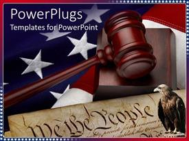 PowerPlugs: PowerPoint template with the depiction of American justice system with american constitution